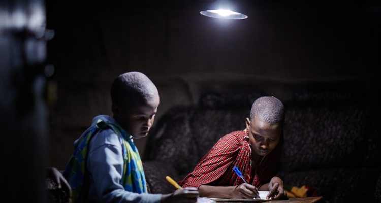 image of off-grid system powering lights for learning