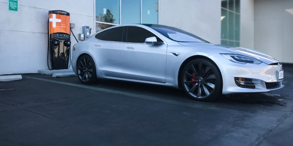 Image of Tesla and chargepoint electric vehicle charger