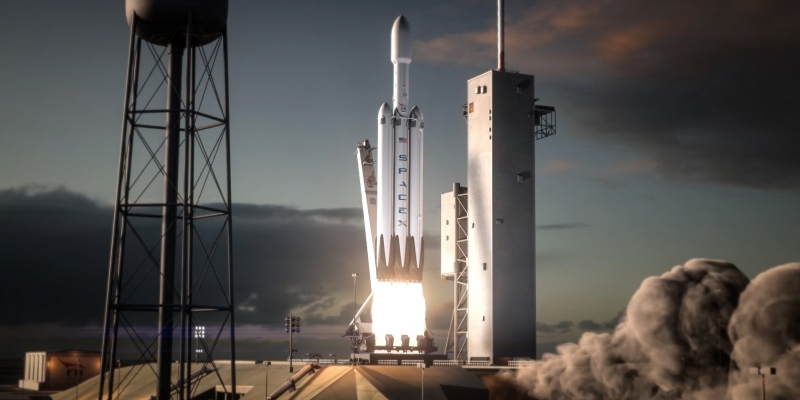 image of animated Falcon Heavy rocket taking off