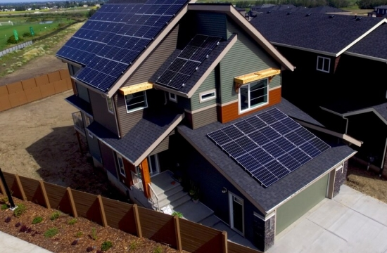 home with solar panels in alberta
